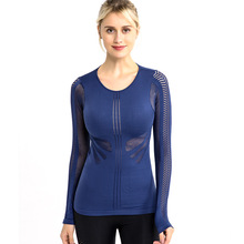women gym shirts workout tops quick dry yoga t shirts sports top long sleeve hollow out fitness wears hama h 53325