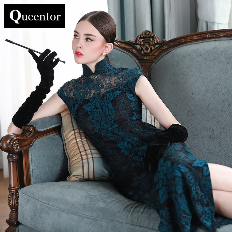 QUEENTOR brand designer spring elegant vintage maxi Lace cheongsam dress autumn for