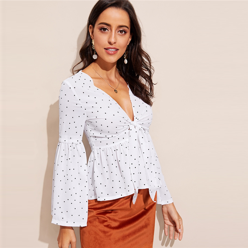 SHEIN Sexy White Plunging Neck Knot Front Bell Sleeve Slim Fit Top Blouse Women Spring Deep V Neck Flounce Sleeve Top Blouses