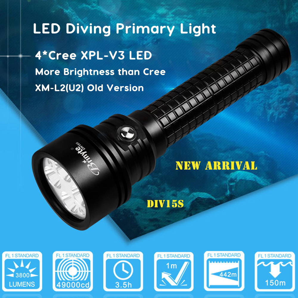 Brinyte DIV15S High Power Dive Torch 3800 Lumens 4pcs Cree XPL-V3 LED Magnetic Switch Professional Diving Flashlight New Arrival