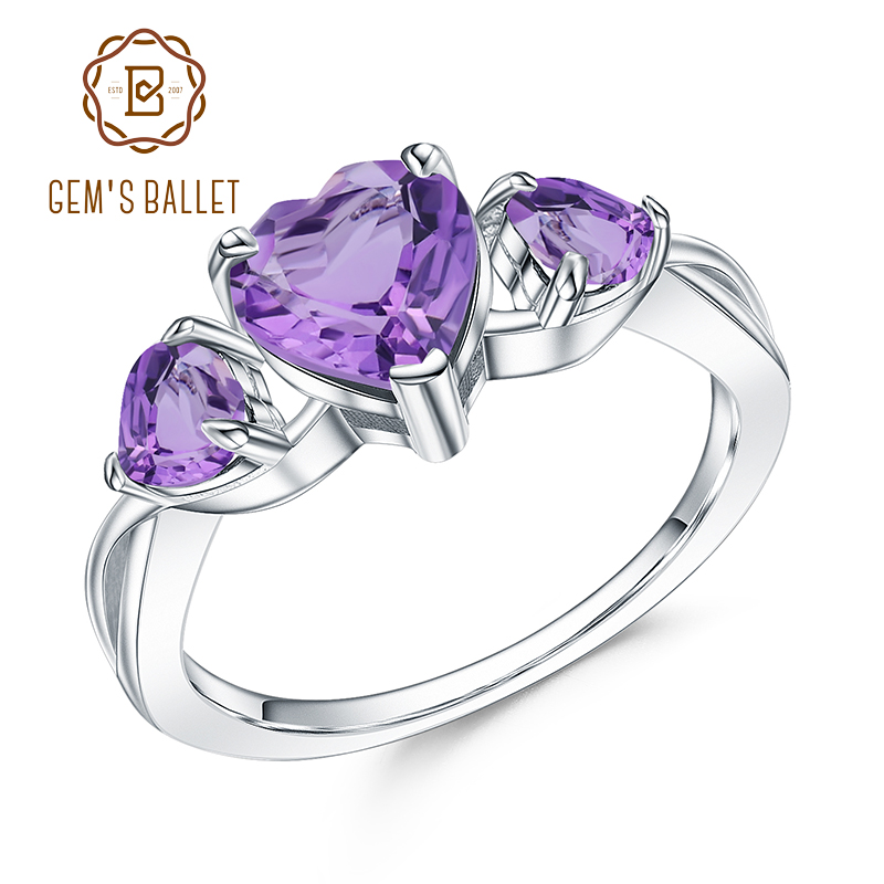 GEM'S BALLET Real 925 Sterling Silver Gemstone Ring 1.71Ct Natural Amethyst Heart Rings For Women Valentine's Day Jewelry Gift