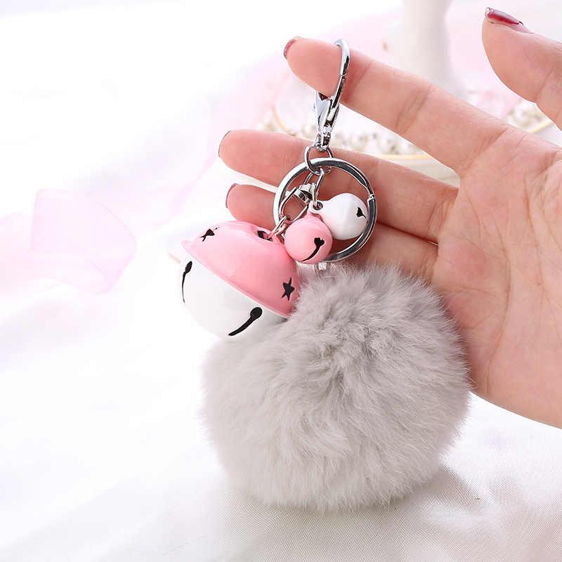 8 centímetros Colorido Fofo Bola De Pêlo Pompom de Pele de Coelho Artificial Chaveiros Moda Chaveiro Pingente de Bell Mulheres Saco Chave Do Carro anel Presentes