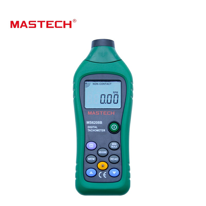 MASTECH Non contact Digital Tachometer RPM Meter Tacometro Rotation Speed 50RPM-99999RPM 100 Data hold MS6208B mastech ms6208b lcd digital laser photo tachometer rpm meter non contact tacometro rotation speed 50rpm 99999rpm data storage