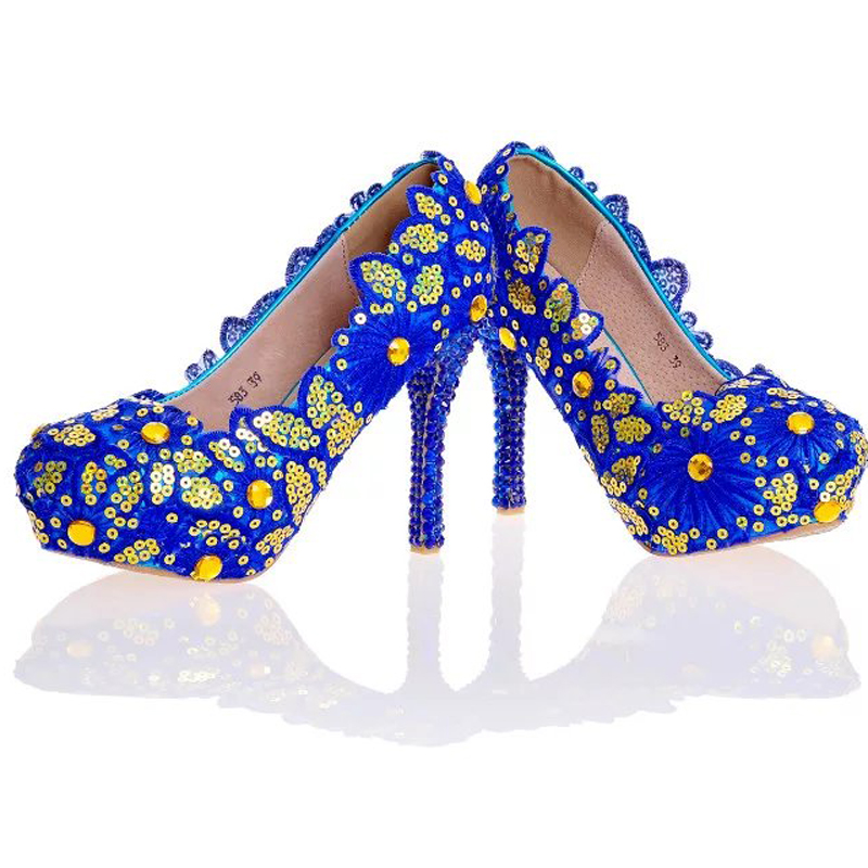 Blue Lace Flower Shoes Glitter Wedding Shoes Blue Rhinestone High Heel  Bridal Shoes Handmade Lady Formal Dress Shoes Plus Size-in Women s Pumps  from Shoes ... 94c4d5e54dc1