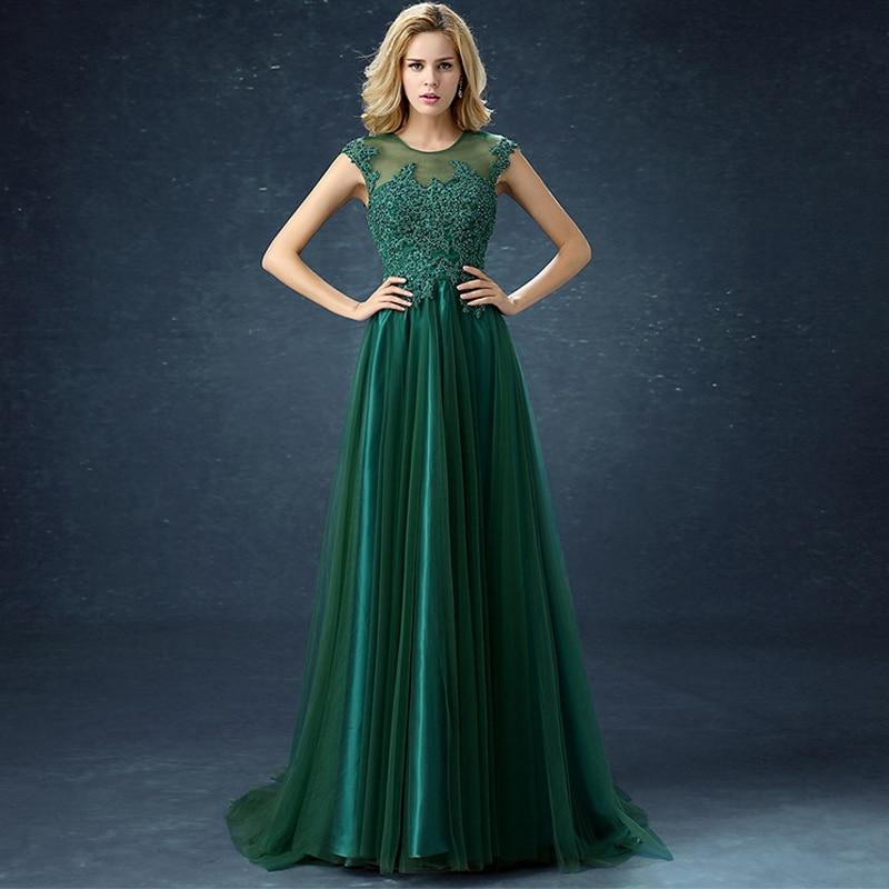 Vestido De Festa O Neck Sleeveless Illusion Lace Beaded Deep Green   Bridesmaid     Dresses   Women Formal Party Gowns