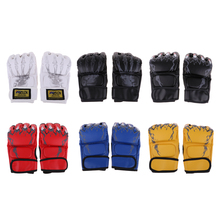 Half Finger Boxing Gloves MMA Sparring Grappling Fight Punch Ultimate Mitts Boxing Fighting Punch Bag Fingerless Mitts цена