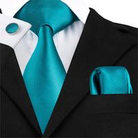 Hi Tie Famous Brand Mens Ties 3 Pcs Solid Neckties For Men Green/Purple/Black Neckties Hanky Cufflinks Set Wedding Tie