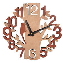 Wooden Wall Clocks Tree Shape Silence Creative Clock for Living Room Wall Clock Decoration for