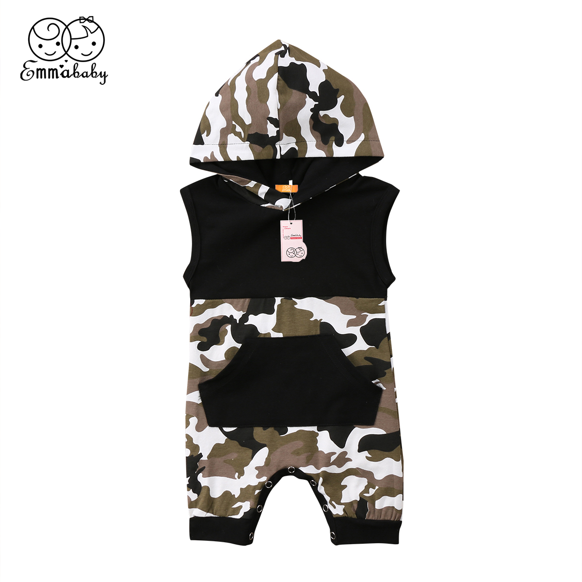 2018 new summer casual Baby Boys Girl Infant Camouflage printed sleeveless hooded short Romper Jumpsuit Hooded Clothes Outfits