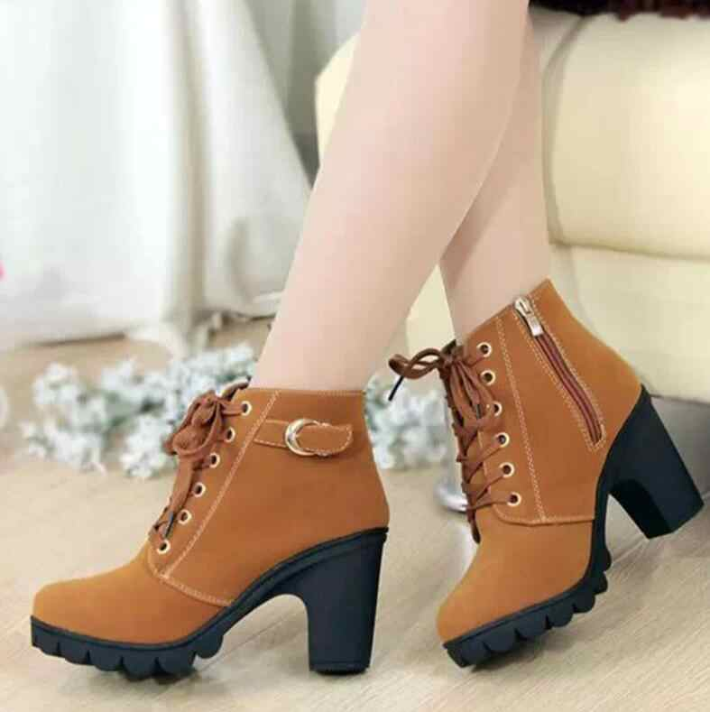 2019 Yeni Sonbahar Kış Kadın Çizmeler Yüksek Kaliteli Katı dantel-up Avrupa Bayan ayakkabıları PU Moda yüksek topuklu Çizmeler büyük boy 35-43