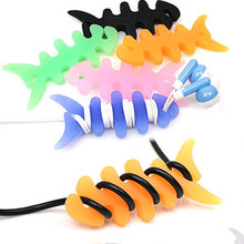 10PCS Anime Cartoon Fish Skeleton Data Cable Winder Charger Wire Cord Organizer Holder for Headphone Earphone Phone Mp3 Bobbin