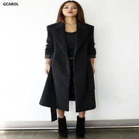 Long Overcoat Slim Figure Turn Down Collar Sashes Design Plus Size Wool Blends Overcoat Thick Woman