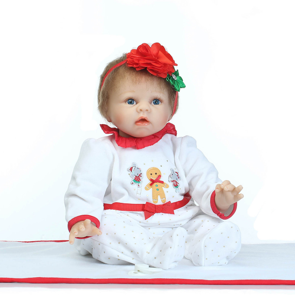 55cm Soft Body Silicone Reborn Baby Dolls Toy Girl Brinquedos High-end Newborn Girl Babies Doll Christmas Present New Year Gift 55cm silicone reborn baby doll toy lifelike npkcollection baby reborn doll newborn boys babies doll high end gift for girl kid