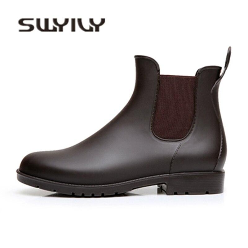 Chaussures Appartements En Eau Caoutchouc Cheville Automne 43 Confortable Étanche 2018 Noir marron Swyivy Bottes Rainboots Pvc Femme YqRnz7