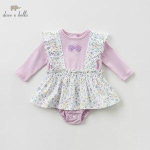 Image 2 - DBH10042 dave bella 6M 3Y yeni doğan rompers bebek uzun kollu çiçek tulum bebek yürümeye başlayan butik onesies kız romper
