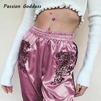 2018 Embroidery Tiger Pink Pants Women Side Stripe Sweatpants High Waist Woman Harem Pants Casual Pantalon TrackPants Trousers