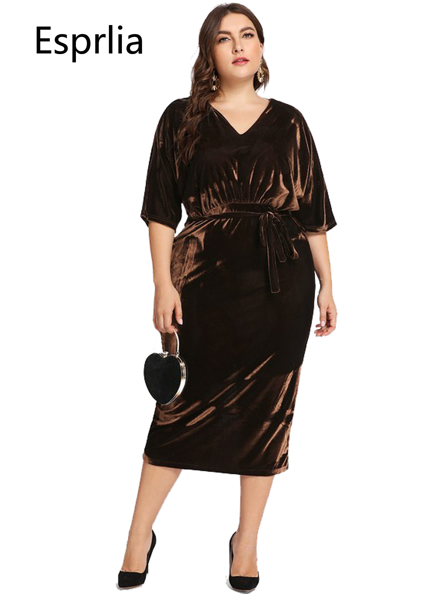 6f4c773e94171 ESPRLIA Women's Plus Size High Waist Velvet Sexy Faux Wrap Pencil Cocktail  Midi Dresses With Belts 3XL 4XL 5XL