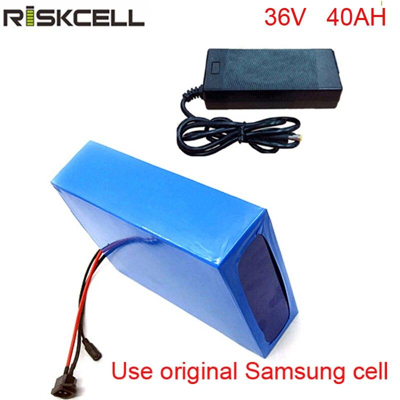 Vélo électrique 36 v 40ah lithium ion batterie pack pour 36 v 8fun/bafang 750 w/1000 w moto + 5A chargeur Pour Samsung cellulaire