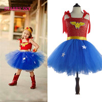 Superhero Inspired Girl Tutu Dress Wonder Woman Superman Costumes Cosplay Photo Props Christmas Halloween Dress Up