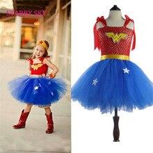 Superhero Inspired Girl Tutu Dress Wonder Woman Superman Costumes Cosplay Photo Props Christmas Halloween Dress Up Birthday Gift