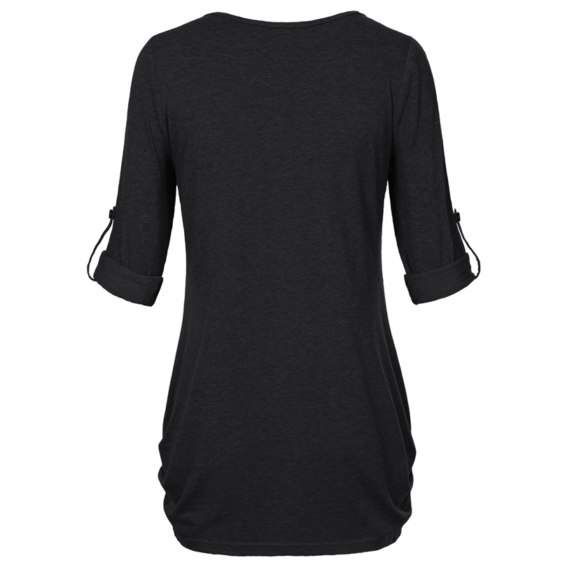 HTB1NJYBPFXXXXbfXXXXq6xXFXXXr - New Women Summer T-shirt Button Long Sleeve Female