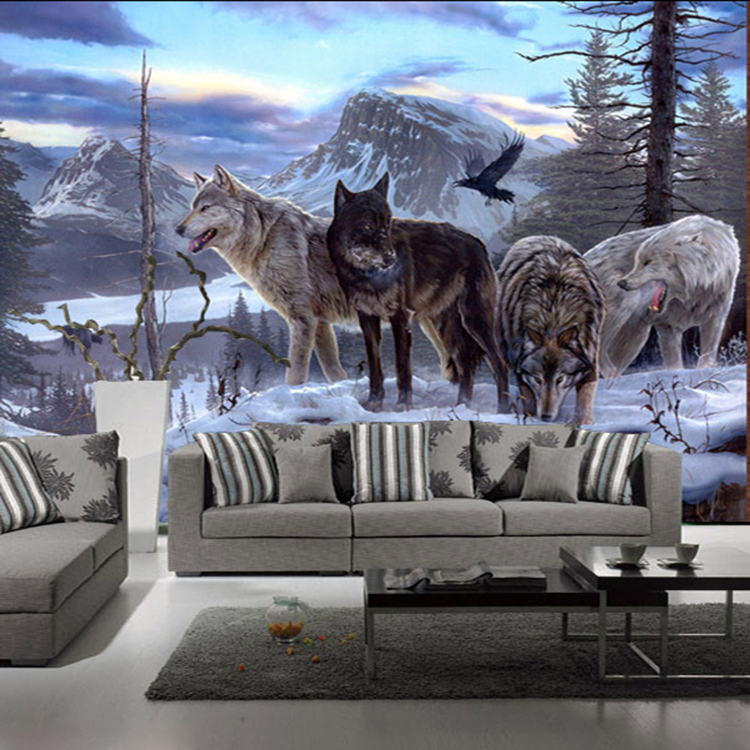 Nature Scenery Mountain Snow Wolf Animal 3d Wallpaper Papel Mural for Bedroom Background 3d Wall Photo Murals 3d Wall Sticker 3d papel parede forests trees bridge reflection scenery 3d wall paper mural 3d photo wallpaper 3d wall mural for sofa background