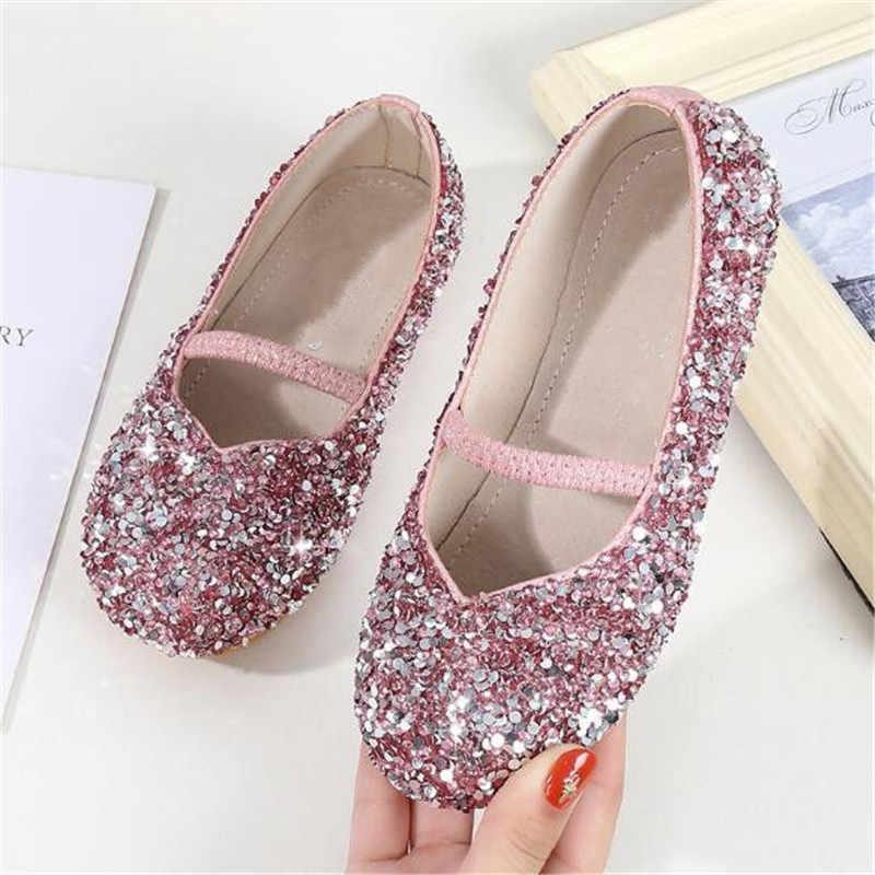 Новинка; обувь с украшением в виде кристаллов для девочек; модная обувь принцессы; Цвет фиолетовый, серебристый, розовый; мягкая подошва; кожаная обувь для малышей; детская обувь на плоской подошве; 04