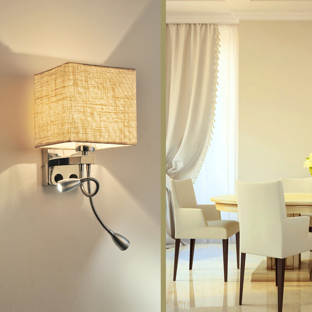 led e27 American Iron Fabric LED Lamp LED Light LED Readin Light Wall lamp Wall Light Wall Sconce With Switch For Foyer Bedroom