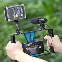 PULUZ HandheldRig Handle Film Making Rig Stabilizer/Steadicam Bracket Holder Cradle Phone Clip for iPhone,Smartphone +Microphone