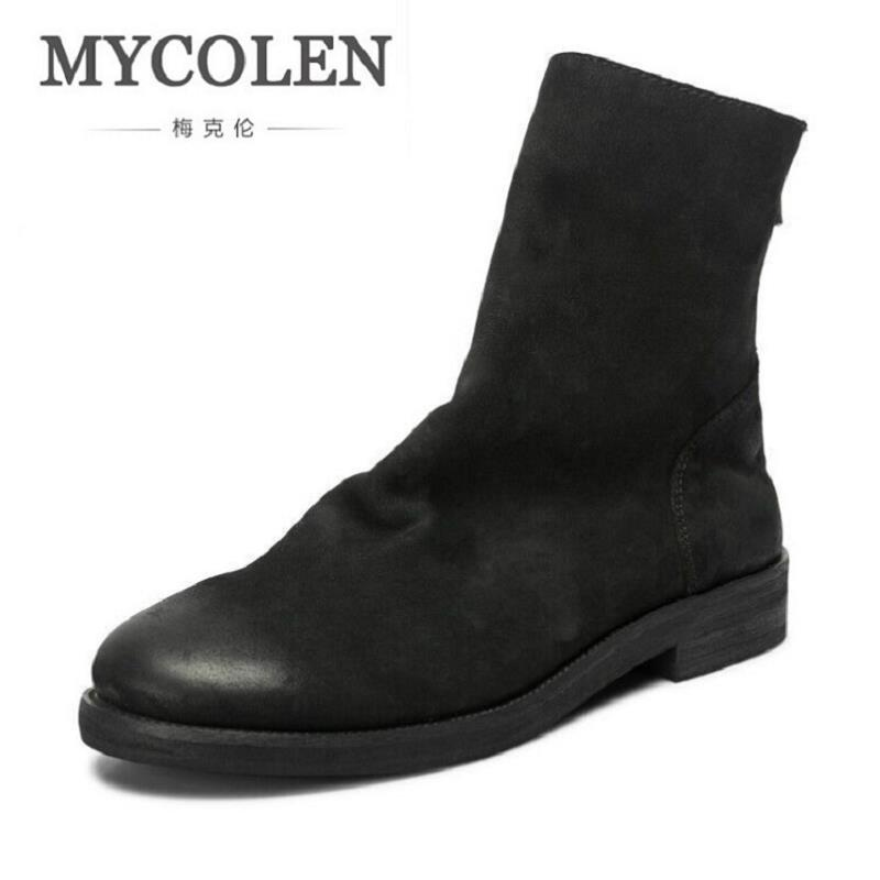 MYCOLEN Autumn Punk Martin Boots Men Fashion Leather Zip Motorcycle Boots Black Vintage High Top Shoes Man Luxury Fashion