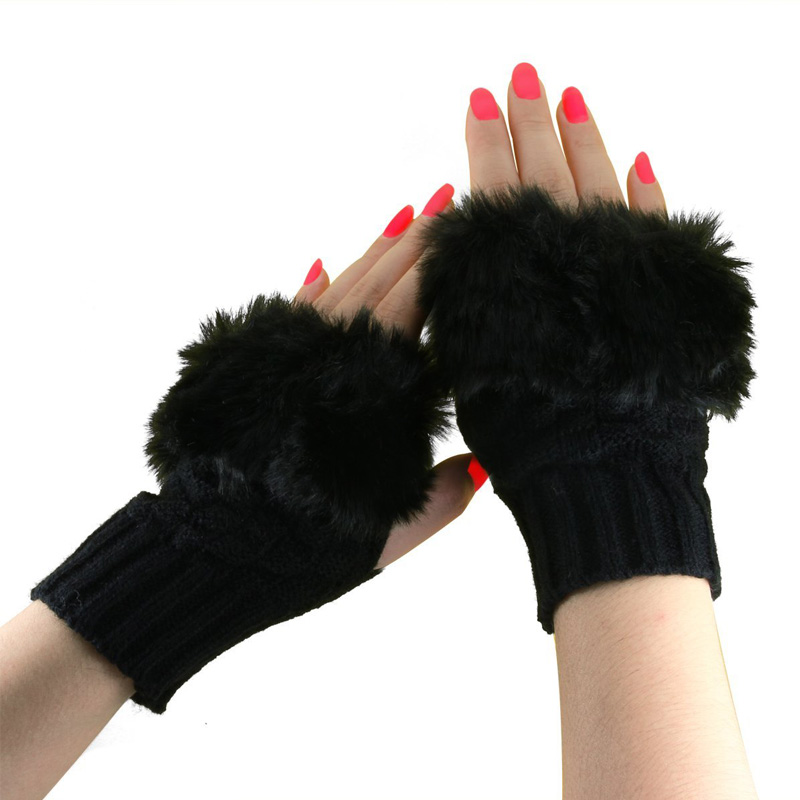 Fashion Winter Women Knitting Gloves Plush Faux Fur Wool Keep Warm Fingerless Short Mitten Lady Girl Half Finger Gloves