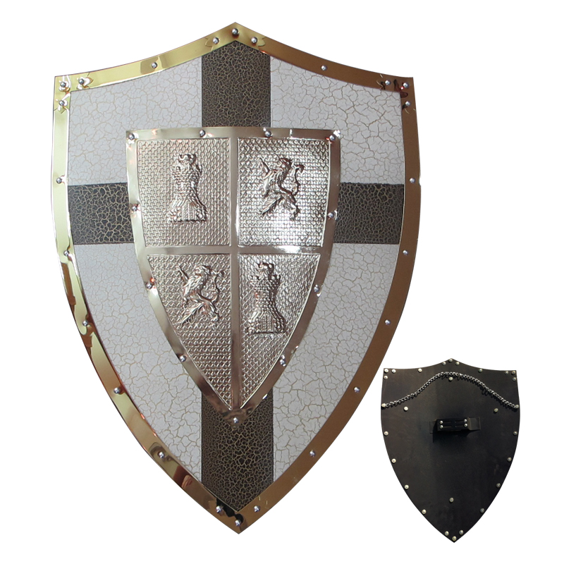 medieval knight shield brass and steel all metal cross wall decoration - Metal Halloween Decorations