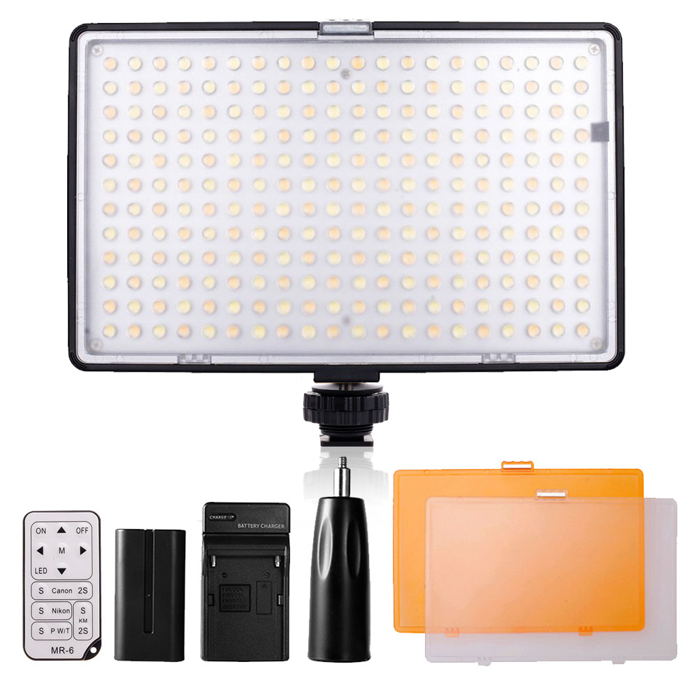 Travor 240 LED Video Light on Camera Light for Canon Nikon Sony DV Camcorder+NP-F550 battery+Charger+remote control