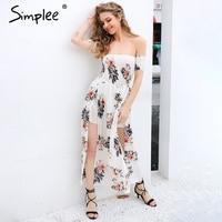 Simplee Boho Off Shoulder Split Summer Dress Women Vintage Floral Print Chiffon Maxi Dress Sexy Beach