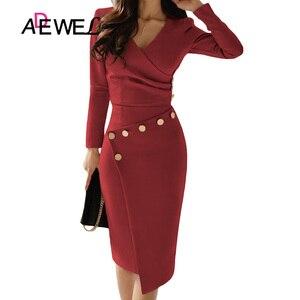 Image 4 - Женское офисное платье карандаш ADEWEL, повседневное белое платье с длинным рукавом, v образным вырезом, пуговицами и рюшами, вечерние платье длина миди, асимметричное платье