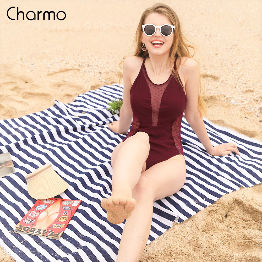 Charmo Women 39 s Mesh Plunge One Piece Swimsuit Deep V Polka Dot Swimwear Backless Sexy Bathing Suit Wine Red Vintage Monokini in Body Suits from Sports amp Entertainment