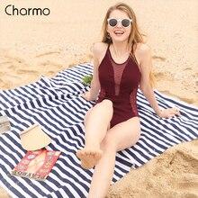 Charmo Womens Mesh Plunge One Piece Swimsuit Deep V Polka Dot Swimwear Backless Sexy Bathing Suit Wine Red Vintage Monokini