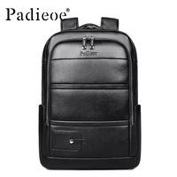 Padieoe Luxury Brand Genuine Cow Leather Unisex Backpacks High Quality Solid Color Laptop Bag Large Capacity
