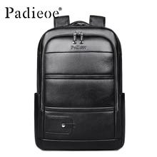 Padieoe Luxury Brand Genuine Cow Leather Unisex Backpacks High Quality Solid Col