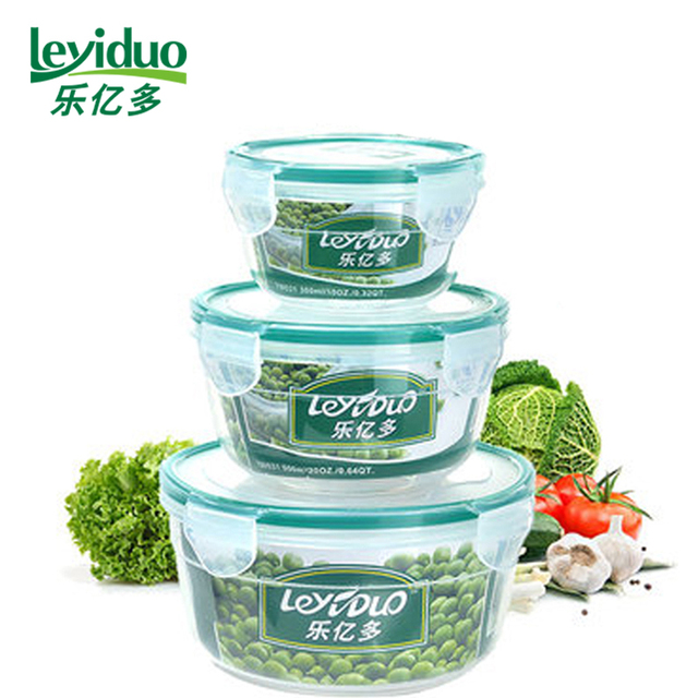 leyiduo 3pcsset Food Storage Boxes Four side Locked Container
