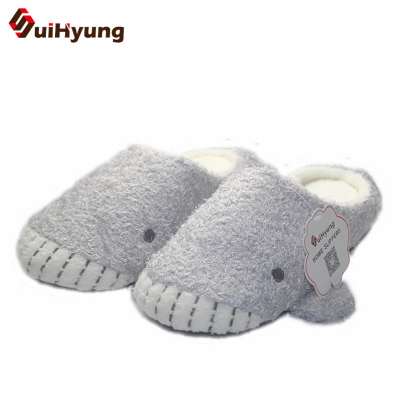 Winter Women's Cotton Slippers Gray Whale Pattern Cute Indoor Shoes Plush Warm Soft Bottom Non-slip Home Slippers Floor Shoes winter new women s warm cotton shoes snowflake deer pattern indoor shoes soft bottom non slip floor home slipper