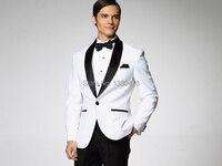2016 ז 'קט לבן עם שחור סאטן דש חתן Tuxedos השושבינים איש הטובים ביותר Mens חליפת מעיל חליפות חתונה + מכנסיים + פרפר + אבנט