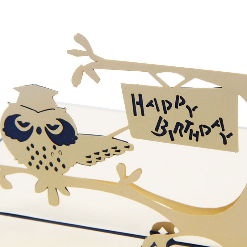 2017 Pop Up 3d Card Owl Symbol Wisdom Happy Birthday Children Day