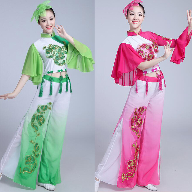 New Woman Gradient Ink Water Sleeves Costumes Chinese Classical Dance Clothes Girls Ballroom Chines Yangko dancing Outfits Suits
