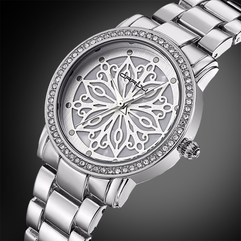 Relogio Feminino CRRJU New Luxury Brand Women Dress Watches Steel Quartz Watch Diamonds silver Watches For Womans Wristwatches misscycy lz the 2016 new fashion brand top quality rhinestone men s steel band watch quartz women dress watch relogio feminino