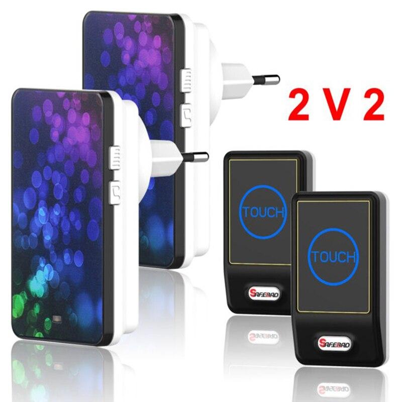 Plug-in Wireless Door Bell Waterproof EU Plug touch button 28 Chimes 2 Ourdoor Transmitter + 2 Indoor Receiver