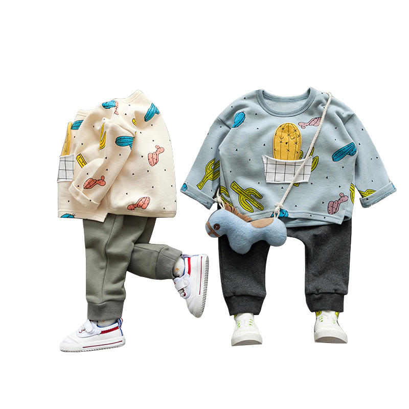 2pcs/set Cotton Autumn Baby Boys Clothing Sets Cartoon Print Long-sleeve T-shirt+Long Pants For Boys 9M-3T Cute Kids Sports Suit malayu baby kids clothing sets baby boys girls cartoon elephant cotton set autumn children clothes child t shirt pants suit