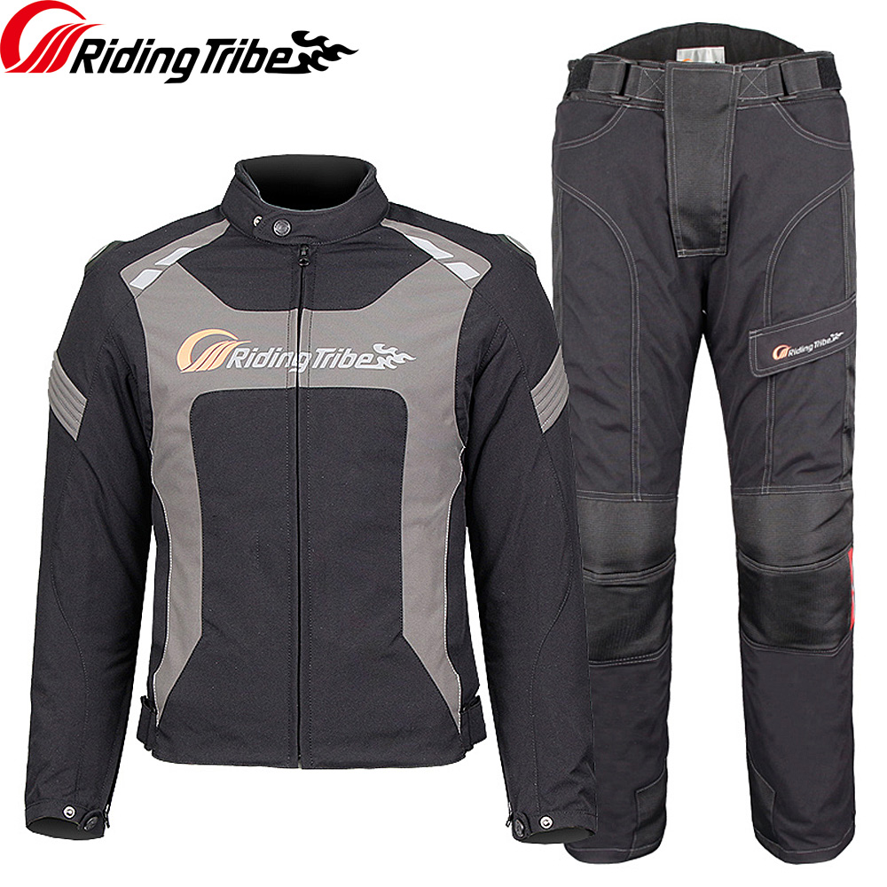 Riding Tribe Motorcycle Men's Jacket Pants Suit Winter Warm Waterproof Moto Racing Clothes Protective Armor Clothing JK-56 2018 winter blue black riding protective jacket motogp racing clothes for yamaha winter motorcycle clothing