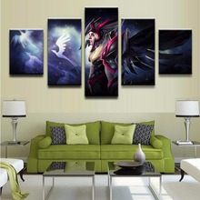 Canvas Oil Printed Painting 5 Panel Wall Art Picture DOTA 2 Vengeful Spirit Modular Artwork Framework For Living Room Bedroom