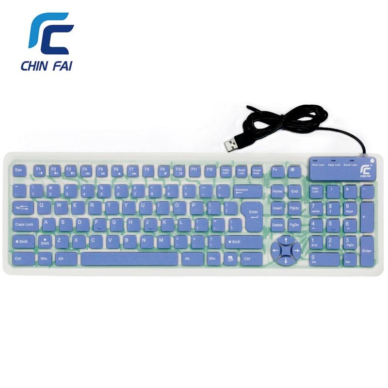 Russian/English 107 Keys Silent Silicone Flexible Foldable Keyboard Waterproof USB Slim Portable Keyboard for Tablet PC Phone